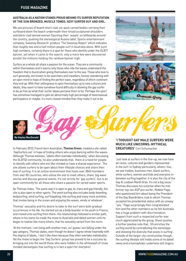 Gay Surfers found on aussie shores, by FUSE mag. 03/04/2012