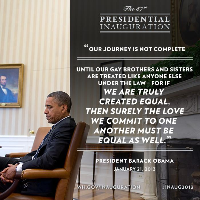 Gay Right in Obama's Presidential Inauguration Speech – Jan. 21, 2013