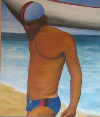 'boatman' oil on canvas- $250