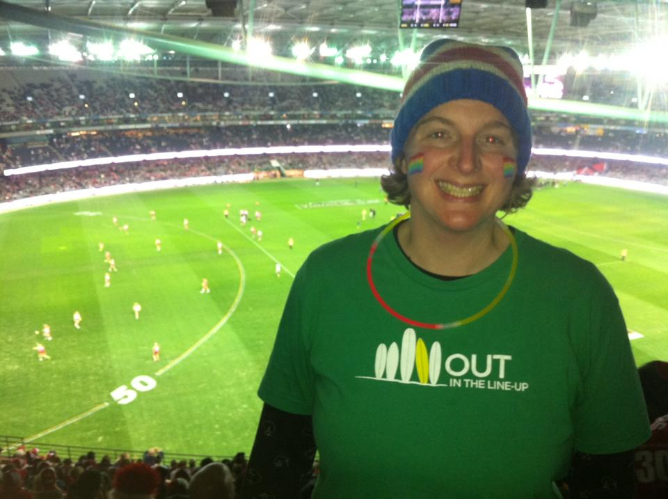 """Sporting """"Out in the Lineup"""" shirt at the AFL's first ever Pride Match!"""